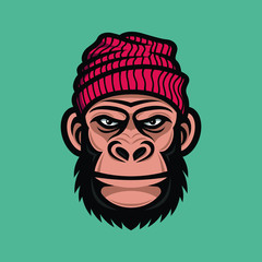 Monkey head in a knitted cap. Mascot gorilla