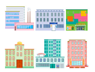 City public buildings houses flat design office architecture modern street apartment vector illustration.