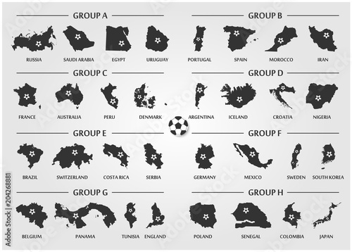 Football or Soccer cup team group set . Silhouette country map with ball .  Vector for international world championship tournament 2018 96889b608