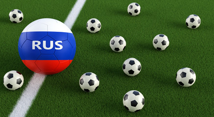 Soccer ball in russian national colors on a soccer field.  3D Rendering