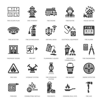 Firefighting, fire safety equipment flat glyph icons. Firefighter car, extinguisher, smoke detector, house, danger signs, firehose. Flame protection pictogram. Solid silhouette pixel perfect 64x64.