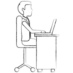 businessman with desk and laptop computer isolated icon vector illustration design