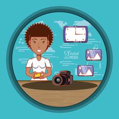 black businesswoman with social media icons vector illustration design