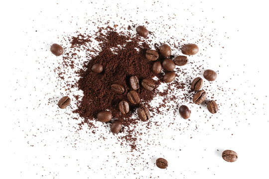 Pile of powder, instant coffee and beans isolated on white background, top view
