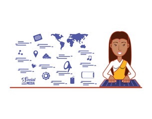 indian woman with social media icons vector illustration design