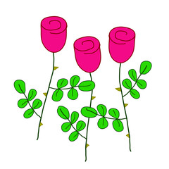 three stylized red roses with green leaves, simple vector hand-drawn outline colored illustration