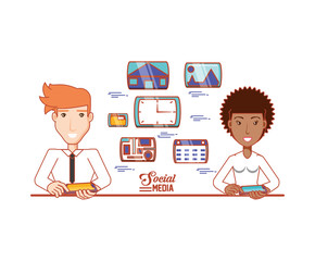 business couple with social media icons vector illustration design