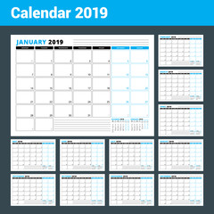 Calendar Template for 2019 Year. Business Planner Template. Stationery Design. Week starts on Monday. Set of 12 months. Vector Illustration