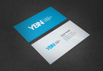 Business Card Layout with Blue Accents