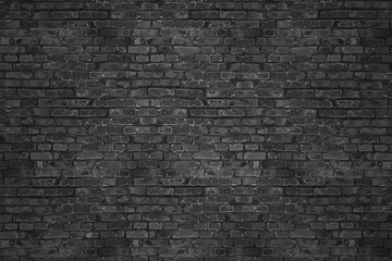 In de dag Graffiti Vintage Black wash brick wall texture for design. Panoramic background for your text or image