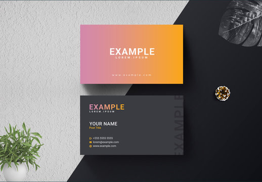 Business Card Layout with Gradient Background