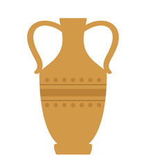 Antique pottery on white background