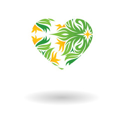 Flowers heart vector icon isolated over white background
