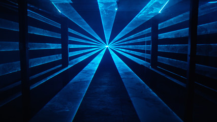 Wide-beamed blue laser light tunnel background