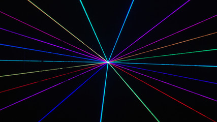 Thin rainbow laser beams on black background, alpha matte