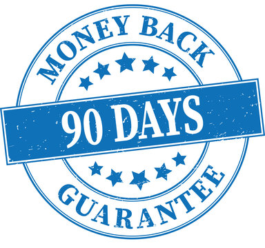 blue money back gurantee 90 days grungy round rubber stamp illustration