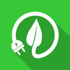 Green eco concept illustration of plug and leaf