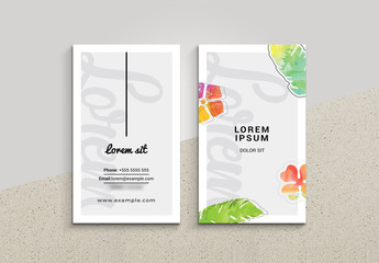 Floral Watercolor Business Card Layout