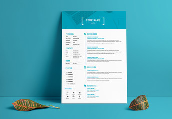Resume Layout with Blue Header and Accents