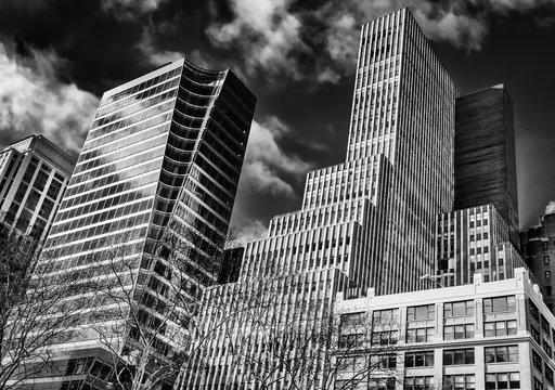 New York City, New York, U.S.A, Jan 2018, Manhattan buildings shot from the street