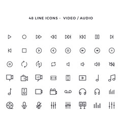 Set of video and audio vector line icons