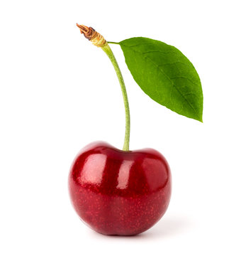 Ripe red cherry with leaf close-up on a white background.