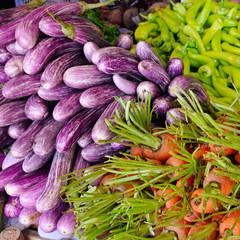 Fresh and organic vegetables at farmers market. Street trade in Sri Lanka.