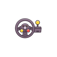 Racing game steering wheel with force shifter - flat color line icon on isolated background. Gaming accessory sign, symbol, pictogram, element in thin outline style.