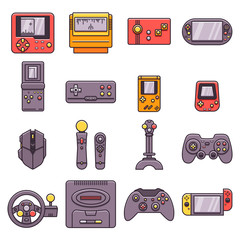 Set of video game home and portable consoles, gamepads, joysticks, joypads, controllers and other gaming accesories in thin outline design. Collection of flat color line icons related to videogames.