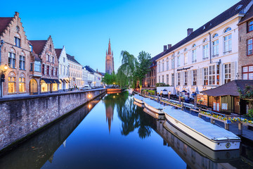 Cityscape of Brugge in the evening