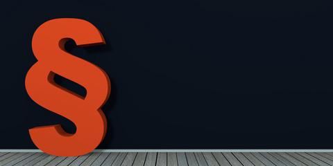 rotes Paragraphenzeichen an dunkler Wand auf Holzboden. 3d render