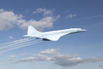 Keuken foto achterwand Vliegtuig Airplane flying over cloudy blue sky