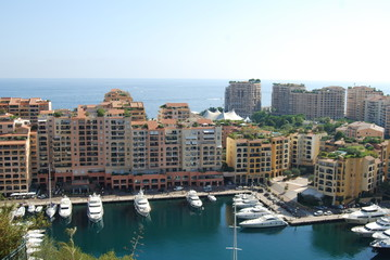 Port de Fontvieille; city; marina; waterway; urban area