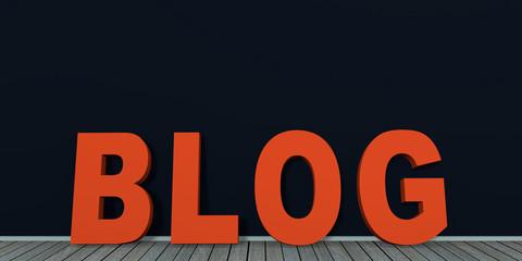 Text Blog an schwarzer Wand auf Holzboden. 3d render