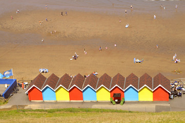 Whitby beach huts in North Yorkshire