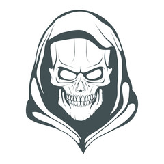 Skull illustration. Evil skull on white background. Vector graphics to design.