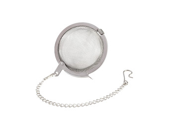 Tea strainer on a chain isolated for white background.