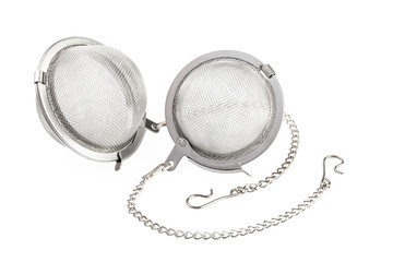 Two tea strainer on a chain isolated for white background.