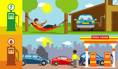 symbolic vector illustration showing the comfort of being able to recharge the electric car at home, instead of queuing at the gas station with the petrol car