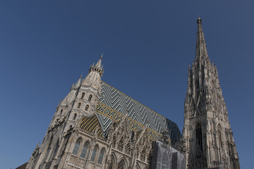 St. Stephen's Cathedral, Vienna on a sunny day with blue sky