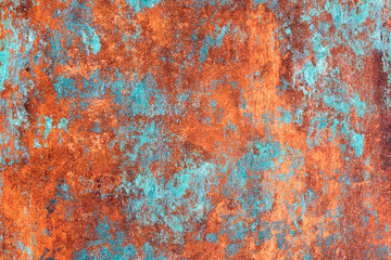 Abstract red blue background, rusty metal Wall mural
