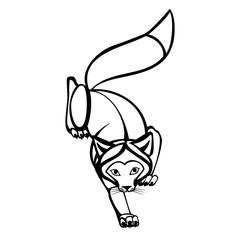 Fox engraved illustration. Vector