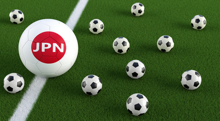 Soccer ball in japanese national colors on a soccer field. 3D Rendering