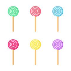 Lollipops color set. Candy on stick with twisted design. Vector illustration