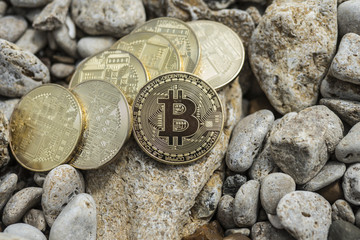 bitcoin Cryptocurrency. e-currency. sea. summer beach. sea stones