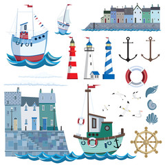 Sea set with flat icons and vector illustration. Pier with houses, lighthouses, ships, gulls, anchor, shells