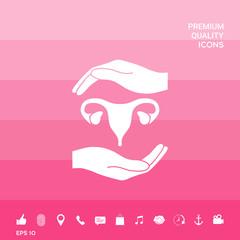 Hands holding Female uterus - protection symbol