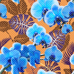 Foto op Aluminium Botanisch Colorful orchid seamless pattern. Vector floral wallpaper, tropic style