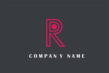 R Letter Logo Design. Line Typography Vector Illustration.