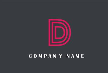D Letter Logo Design. Line Typography Vector Illustration.